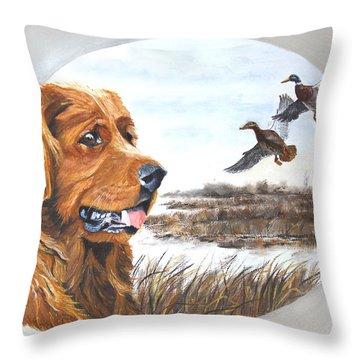 Golden Retriever With Marsh Scene Throw Pillow by Johanna Lerwick