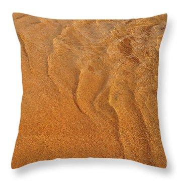 Golden Ripple Throw Pillow