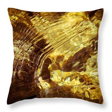 Golden Ripples Throw Pillow