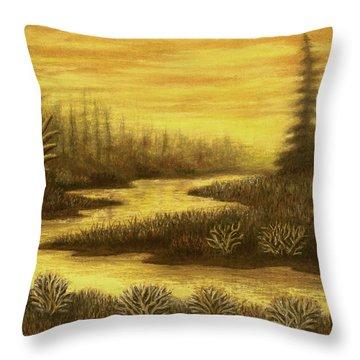 Golden River 01 Throw Pillow