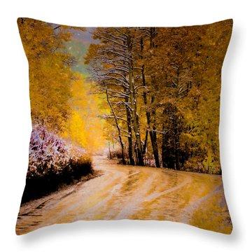 Golden Road Throw Pillow