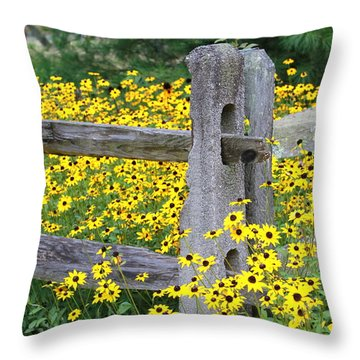 Golden-rod  Crowd Out Throw Pillow