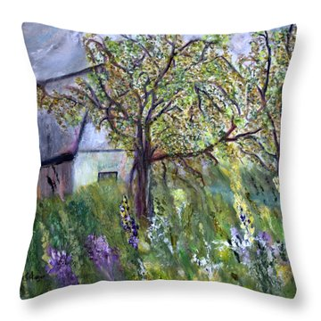 Throw Pillow featuring the painting Golden Rods by Aleezah Selinger