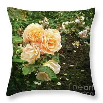 Golden Roses In The Garden Throw Pillow