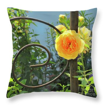 Throw Pillow featuring the photograph Golden Ruffled Rose On Iron Trellis by Nancy Lee Moran