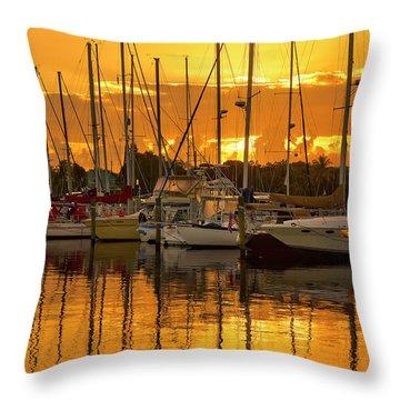 Golden Sailboat Sunrise Over Stuart Marina, Florida Throw Pillow