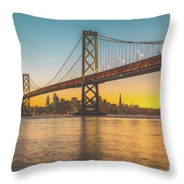 Golden San Francisco Throw Pillow by JR Photography