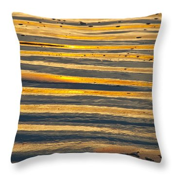 Golden Sand On Beach Throw Pillow