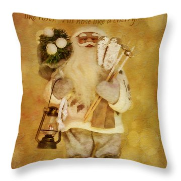 Golden Santa Card 2015 Throw Pillow