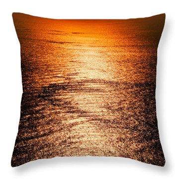 Golden Sea In Alanya Throw Pillow