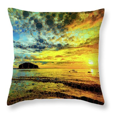 Throw Pillow featuring the mixed media Golden Sea by Susan Maxwell Schmidt