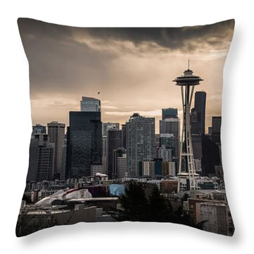 Golden Seattle Throw Pillow by Chris McKenna