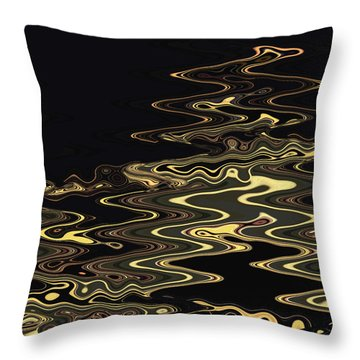 Throw Pillow featuring the digital art Golden Shimmers On A Dark Sea by Gina Harrison