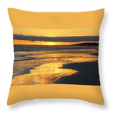 Golden Shore Throw Pillow by Rosanne Jordan