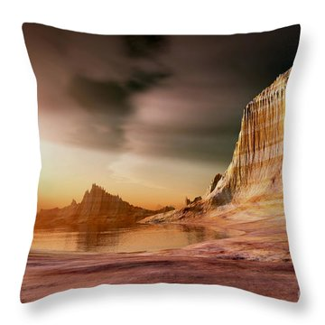 Golden Shores Throw Pillow by Corey Ford