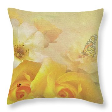 Throw Pillow featuring the photograph Golden Showers Yellow Roses by Diane Schuster