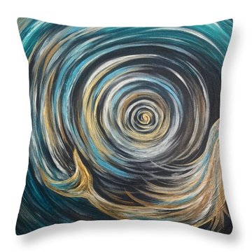 Golden Sirena Mermaid Spiral Throw Pillow