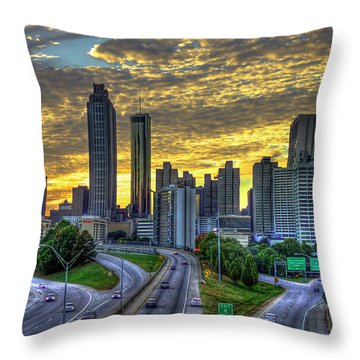 Throw Pillow featuring the photograph Golden Skies Atlanta Downtown Sunset Cityscape Art by Reid Callaway