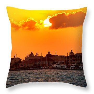 Golden Sky In Cancun Throw Pillow