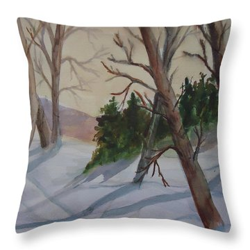 Golden Sky In The Snow Throw Pillow