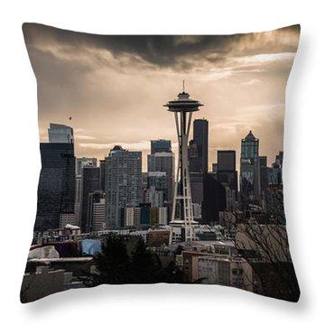Golden Sky Seattle Throw Pillow by Chris McKenna