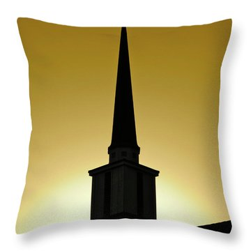 Golden Sky Steeple Throw Pillow