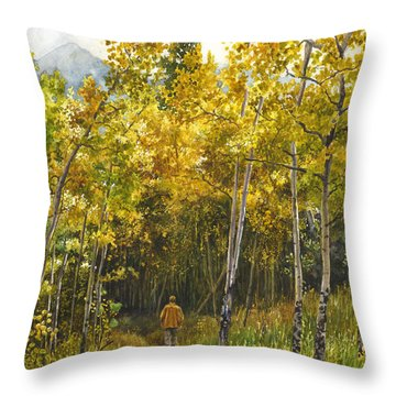 Golden Solitude Throw Pillow by Anne Gifford