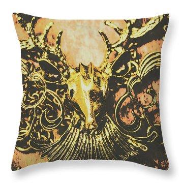 Golden Stag Throw Pillow
