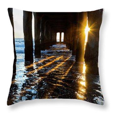 Golden Stripes Throw Pillow