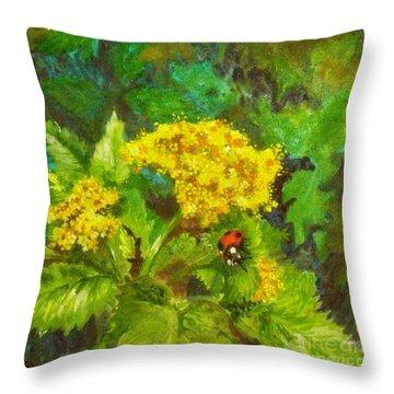 Golden Summer Blooms Throw Pillow