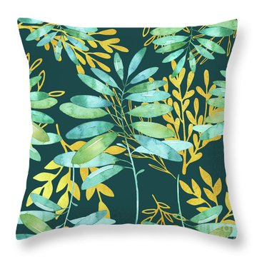 Golden Summer Leaves Pattern Throw Pillow