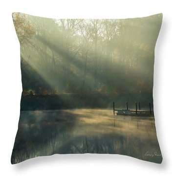 Golden Sun Rays Throw Pillow