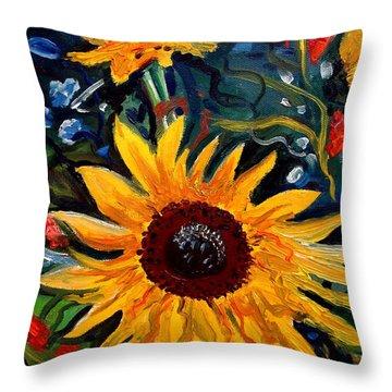 Golden Sunflower Burst Throw Pillow