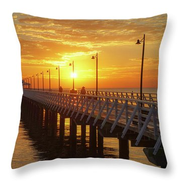 Golden Sunrise Down By The Bay Throw Pillow