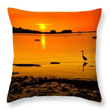 Golden Sunset At The Bay Throw Pillow