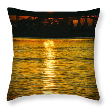 Throw Pillow featuring the photograph Golden Sunset Behind Bridge by Mariola Bitner