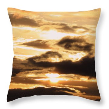 Golden Sunset Throw Pillow by Carol Groenen