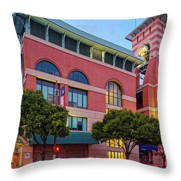 Golden Sunset Glow On The Facade Of Minute Maid Park - Downtown Houston Harris County Texas Throw Pillow