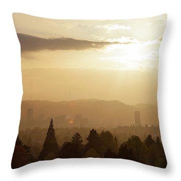Golden Sunset Over Portland Skyline Throw Pillow by David Gn