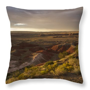 Throw Pillow featuring the photograph Golden Sunset Over The Painted Desert by Melany Sarafis