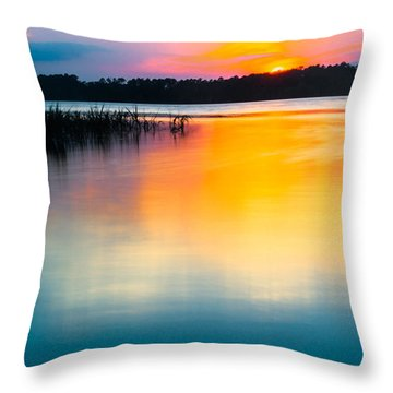 Golden Sunset Throw Pillow