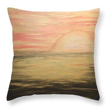 Golden Sunset Throw Pillow by Rachel Hannah
