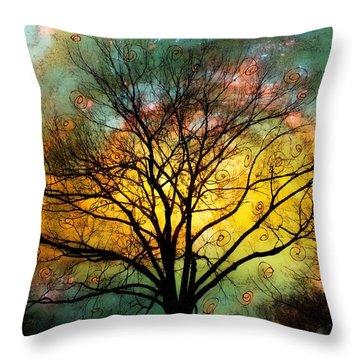 Golden Sunset Treescape Throw Pillow