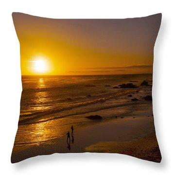 Throw Pillow featuring the photograph Golden Sunset Walk On Malibu Beach by Jerry Cowart