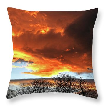 Golden Sunset With Filigree Trees Throw Pillow