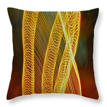 Golden Swirl Abstract Throw Pillow