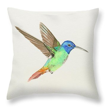 Golden-tailed Sapphire Throw Pillow