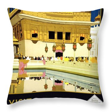 Golden Temple Amritsar India - Vintage Travel Advertising Poster Throw Pillow