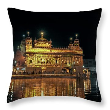 Golden Temple Punjab India Night With Reflection Throw Pillow