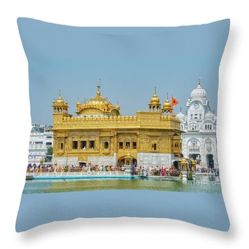 Golden Temple Punjab India With Clear Sky Throw Pillow